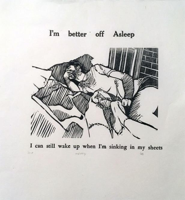 """""""Asleep"""", 12""""x12"""", linocut + letterpress. 7 in stock. $25-50"""