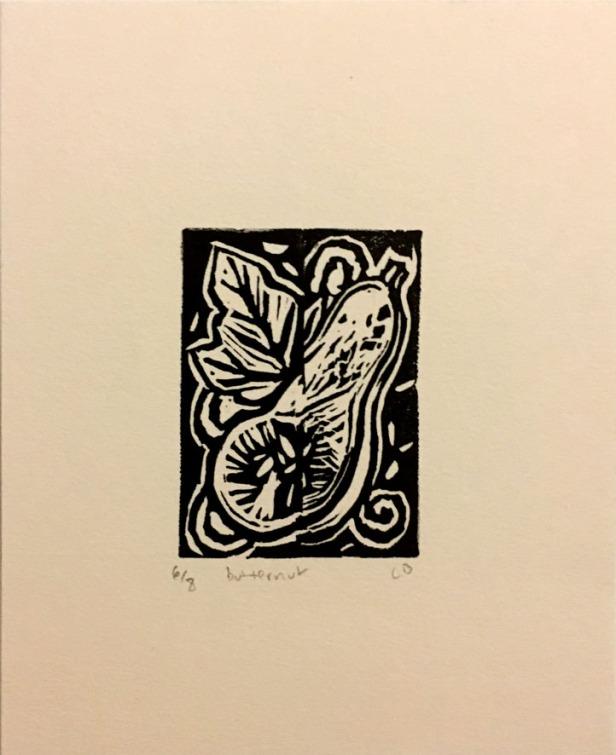 """""""Butternut"""", 4.5""""x5.5"""", eraser stamp print. 2 in stock. $15-30"""