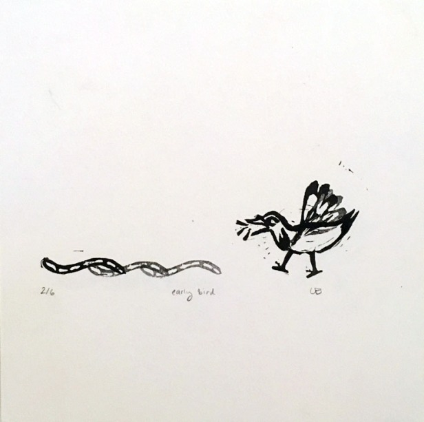 """early bird"", 7.5""x7.5"", eraser stamp print. 4 in stock. $15-40"